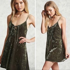 Green Mini Velvet Dress